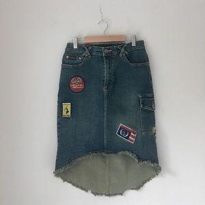 Baby Phat Denim Hi-Lo Patch Skirt